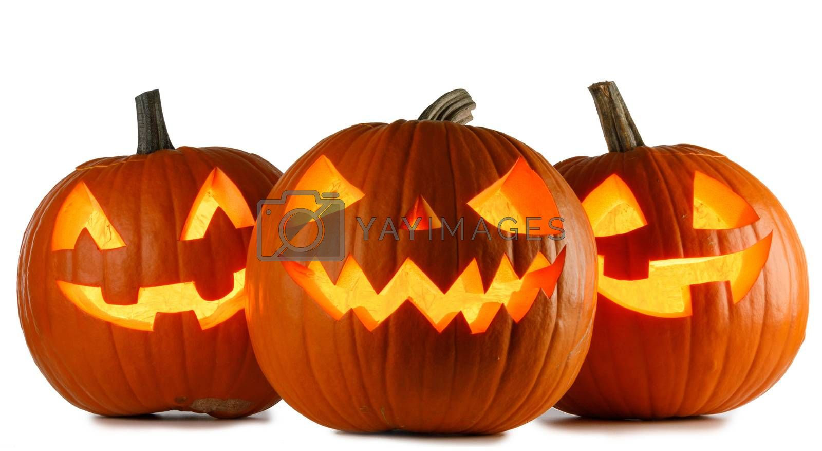 Three Halloween Pumpkins isolated on white background