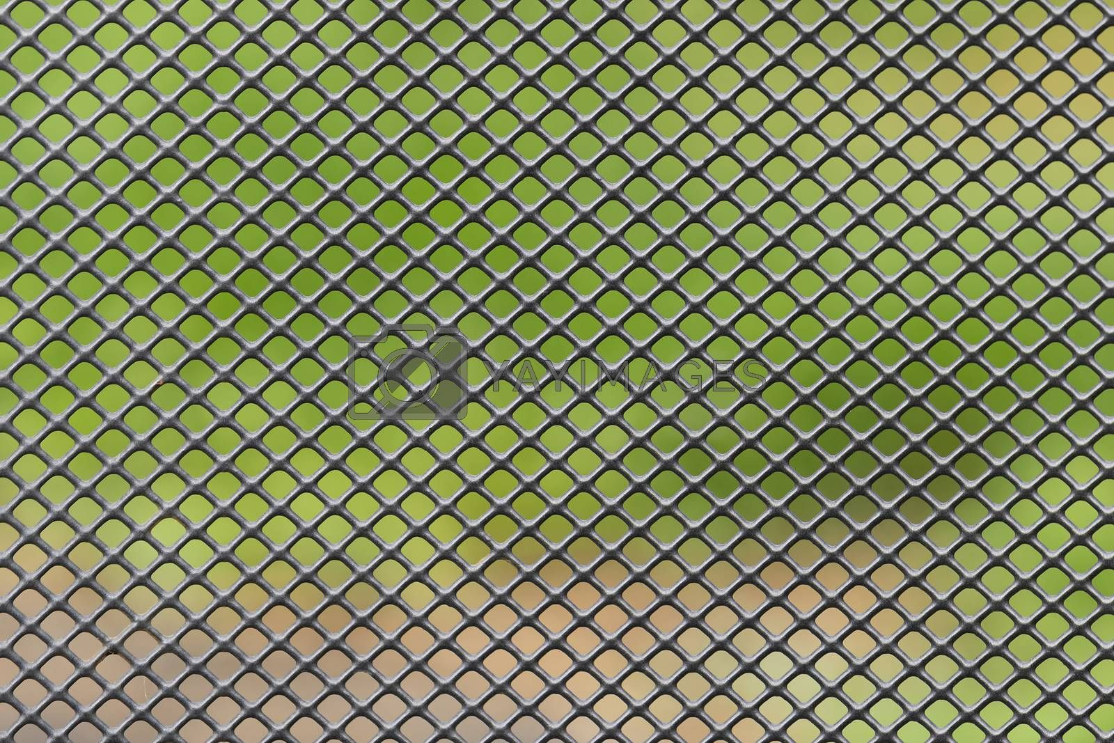 Metal grid diagonally crossed with blurred green brown background
