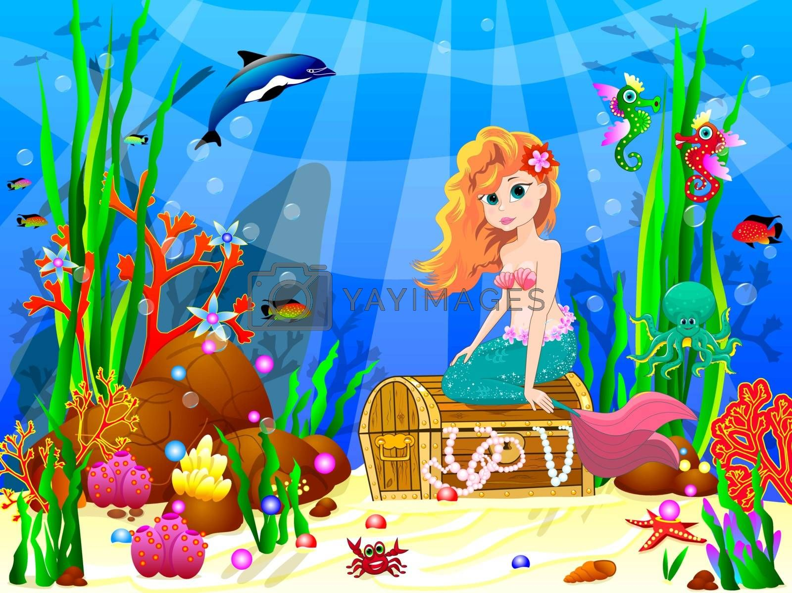 The little mermaid underwater among sea creatures and underwater plants. Mermaid is sitting on a treasure chest.