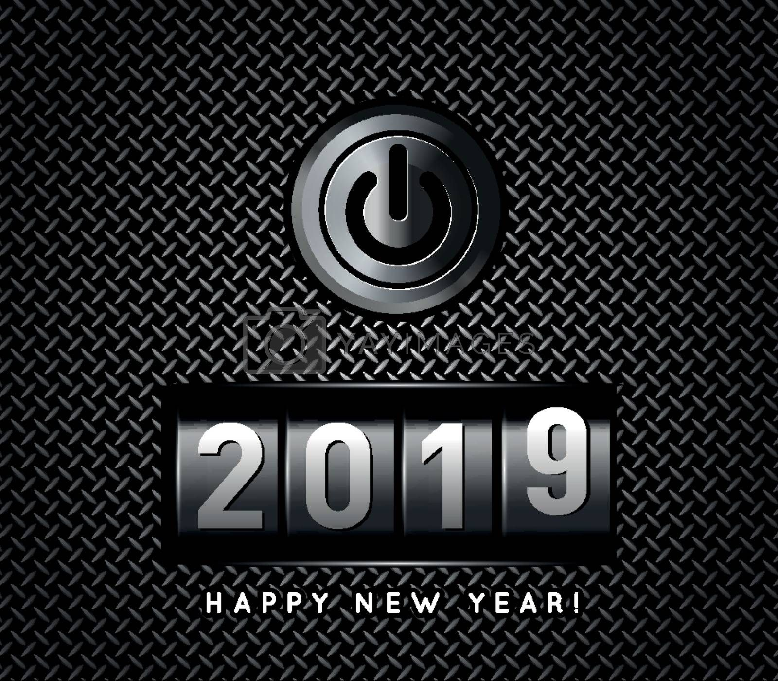 New Year counter 2019 with power button. Vector illustration