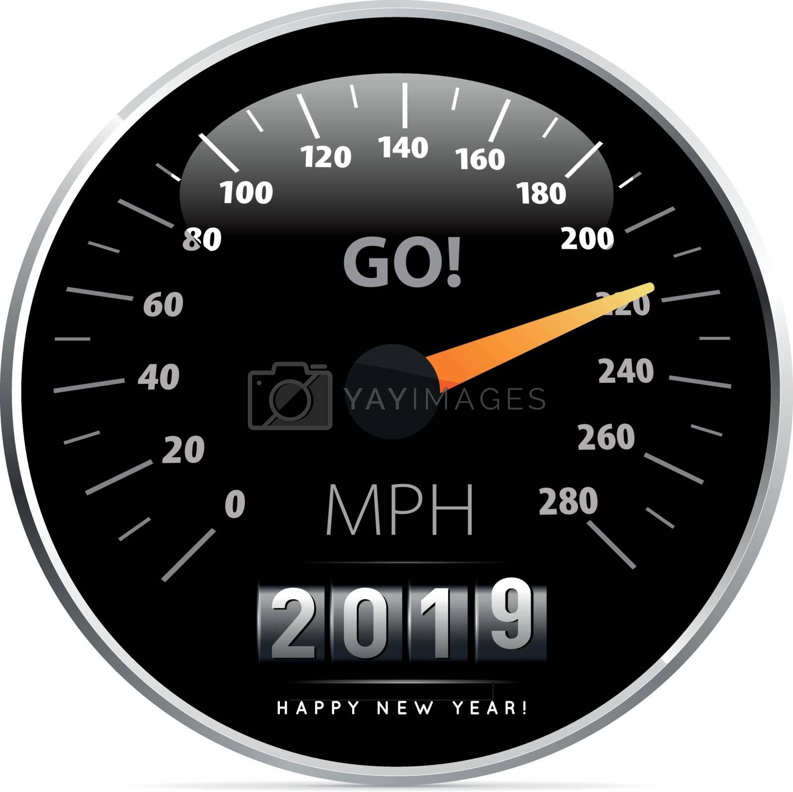 2019 year Calendar speedometer car. Vector illustration