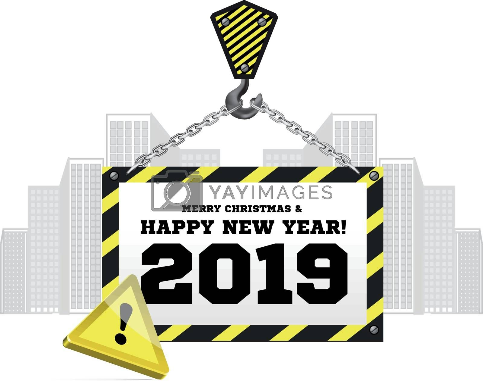 Congratulations to the New Year on the background of a construction crane. Vector illustration