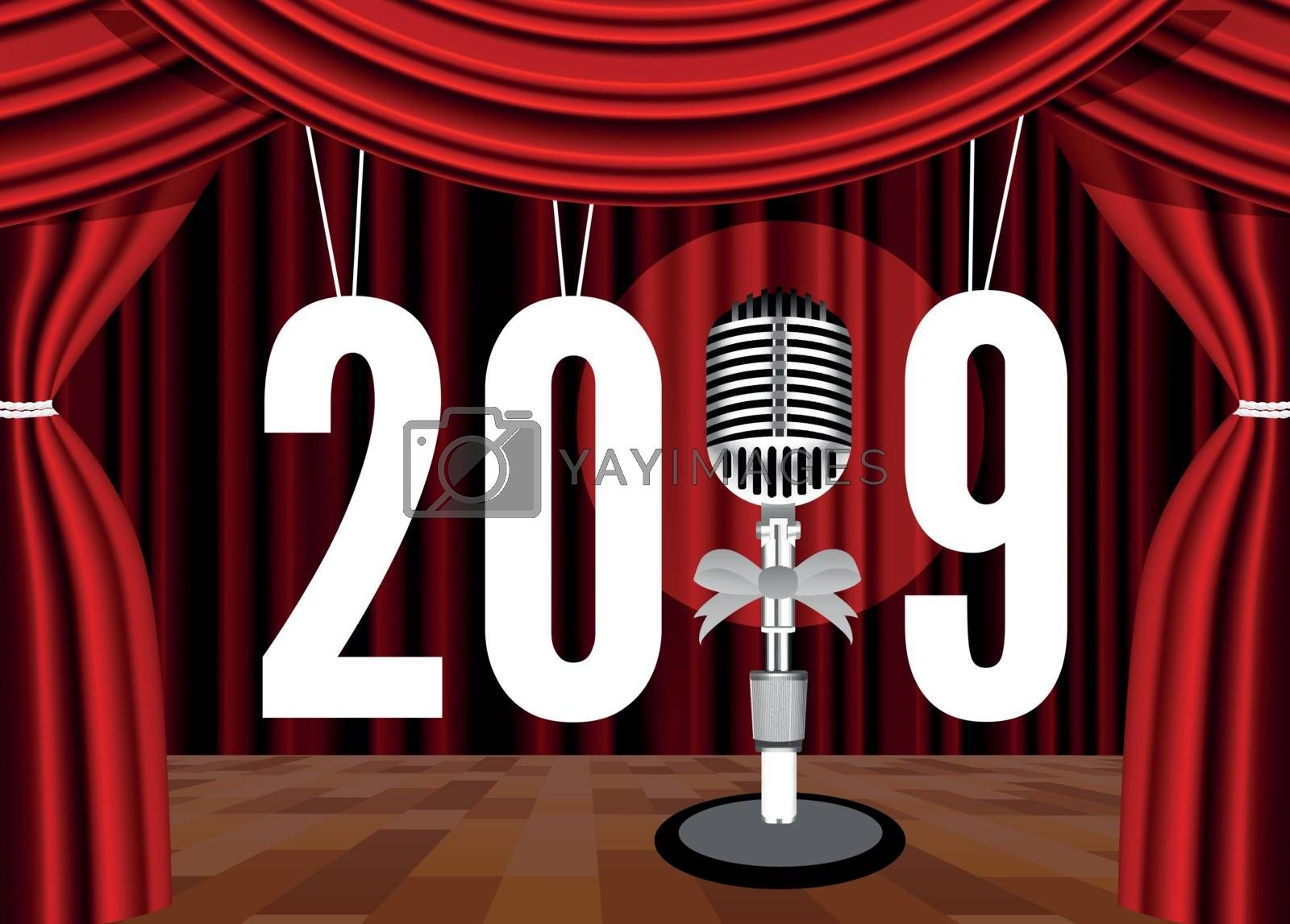 Happy New Year 2019 on the background of the stage with a microphone. Vector illustration