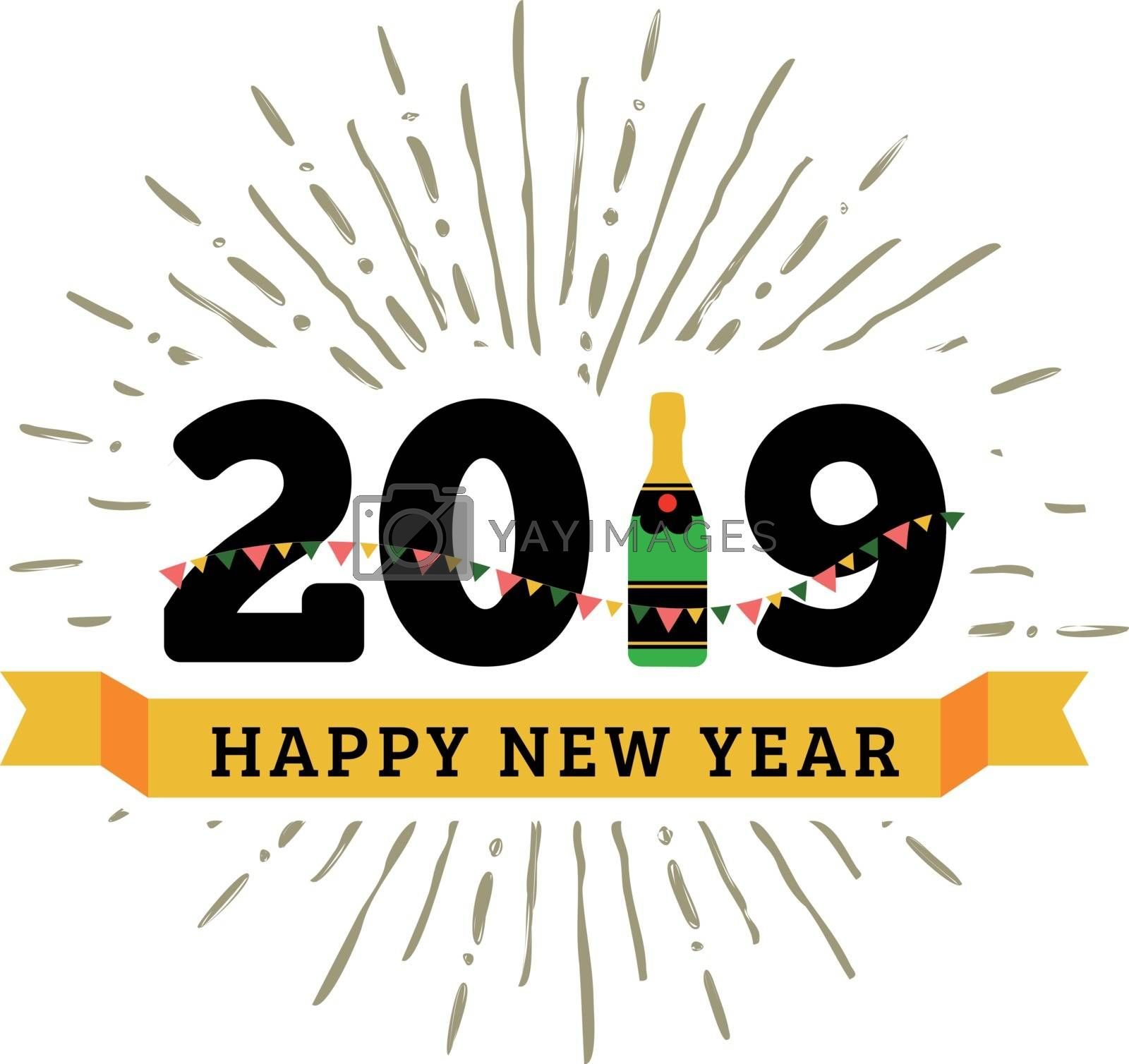 Congratulations to the happy new 2019 year with a bottle of champagne, flags. Vector flat illustration with sunburst