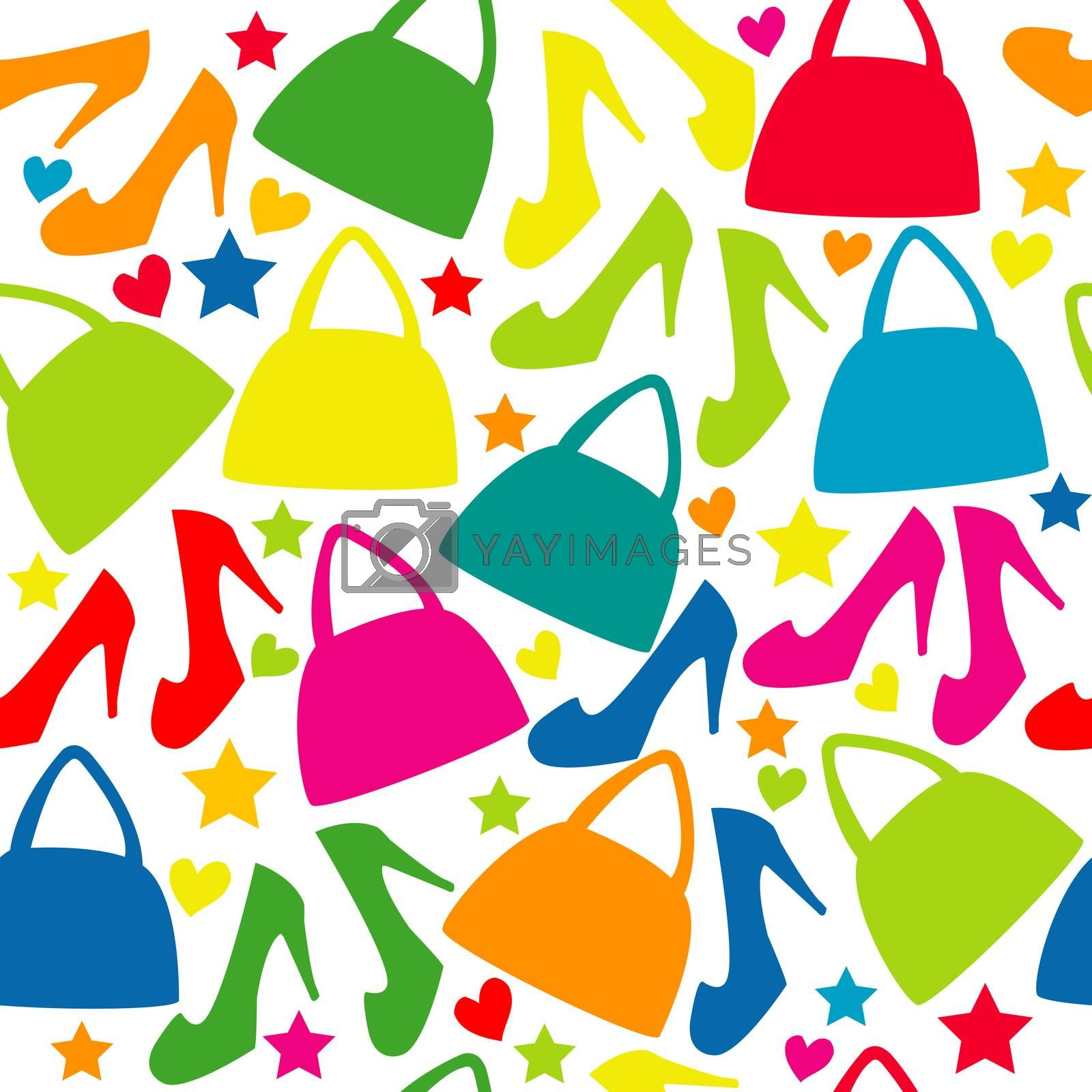 Fashion seamless background with bags and shoes