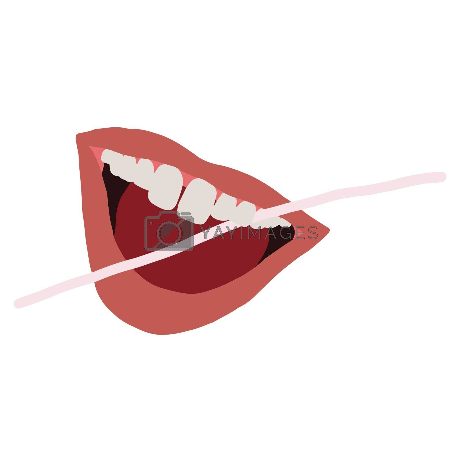 Open mouth with dental floss illustration isolated on white background. Dental care concept. Flat cartoon style. Vector Illustration.