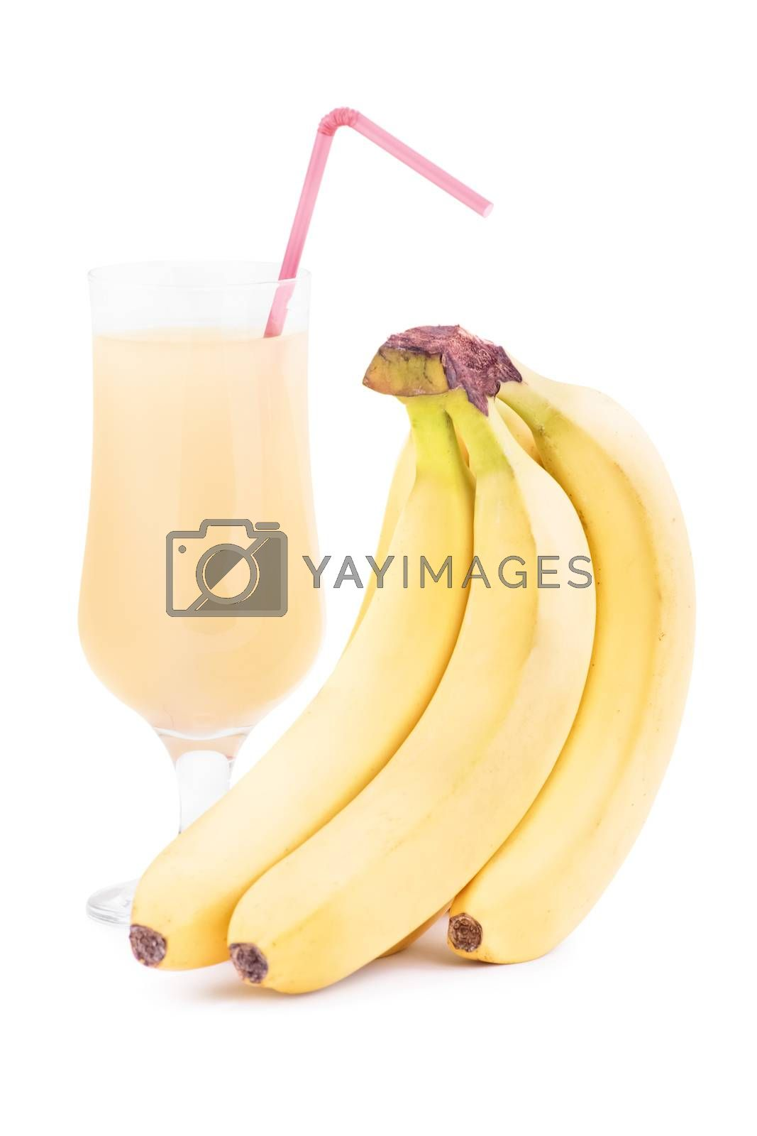 Bananas with a smoothie glass, isolated on white background.
