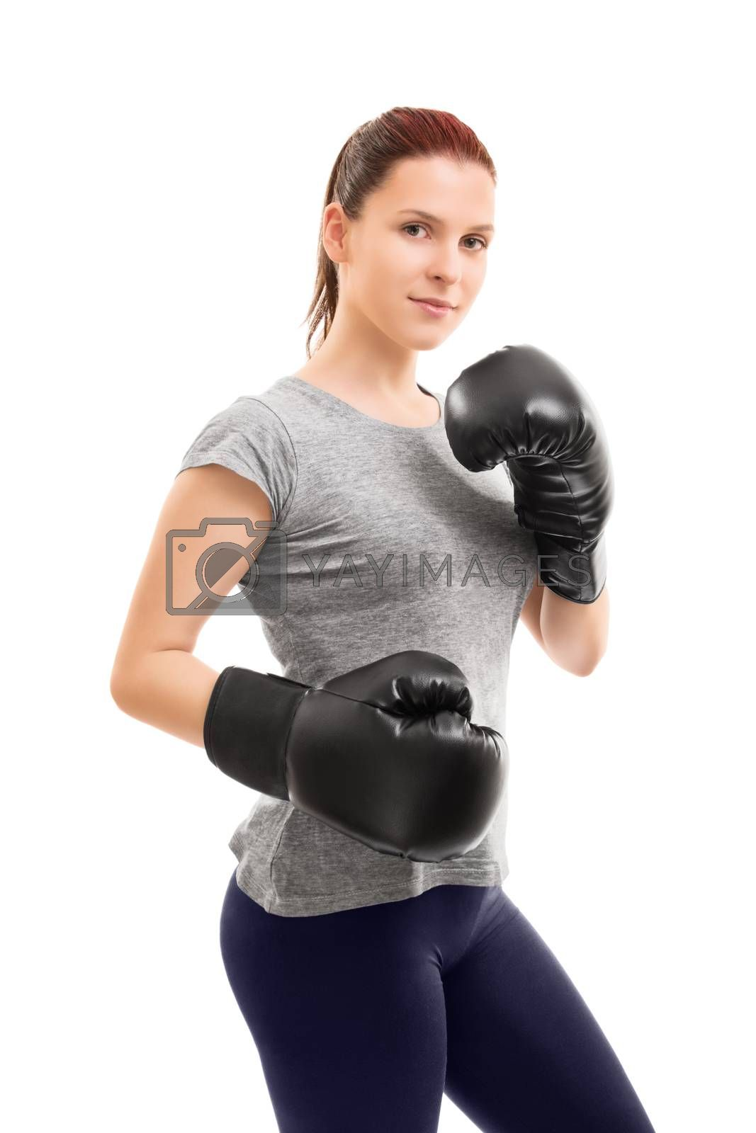 Beautiful young girl with boxing gloves by Mendelex