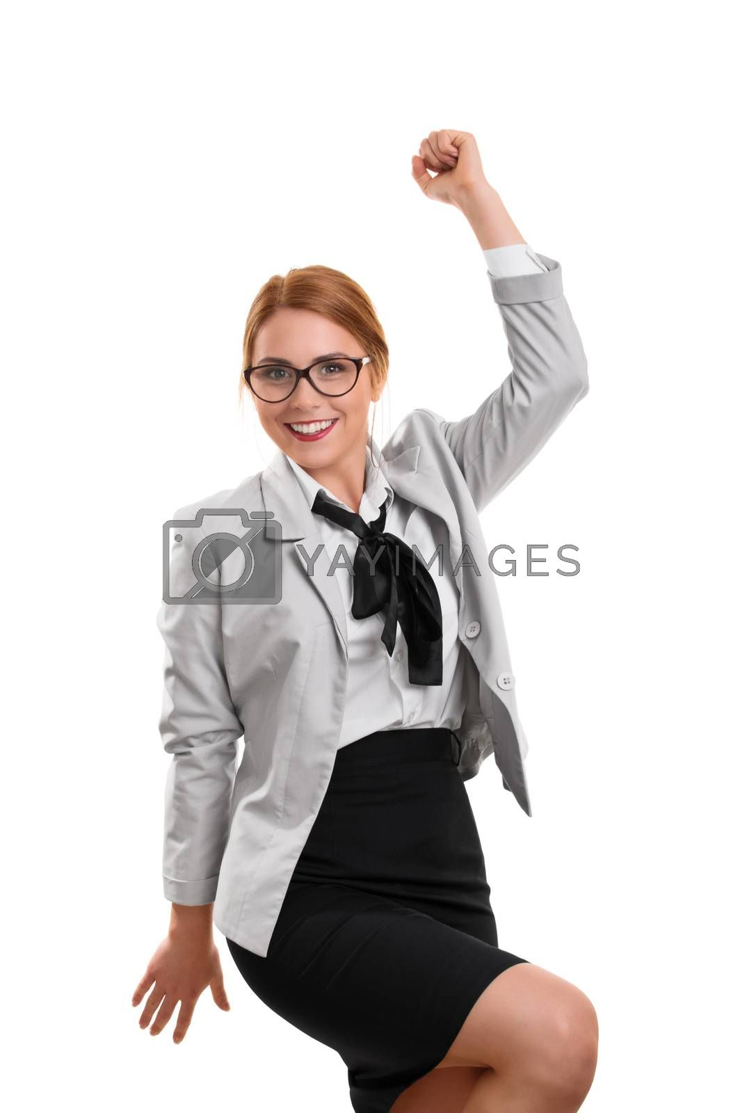 A portrait of a businesswoman cheering isolated on white background.