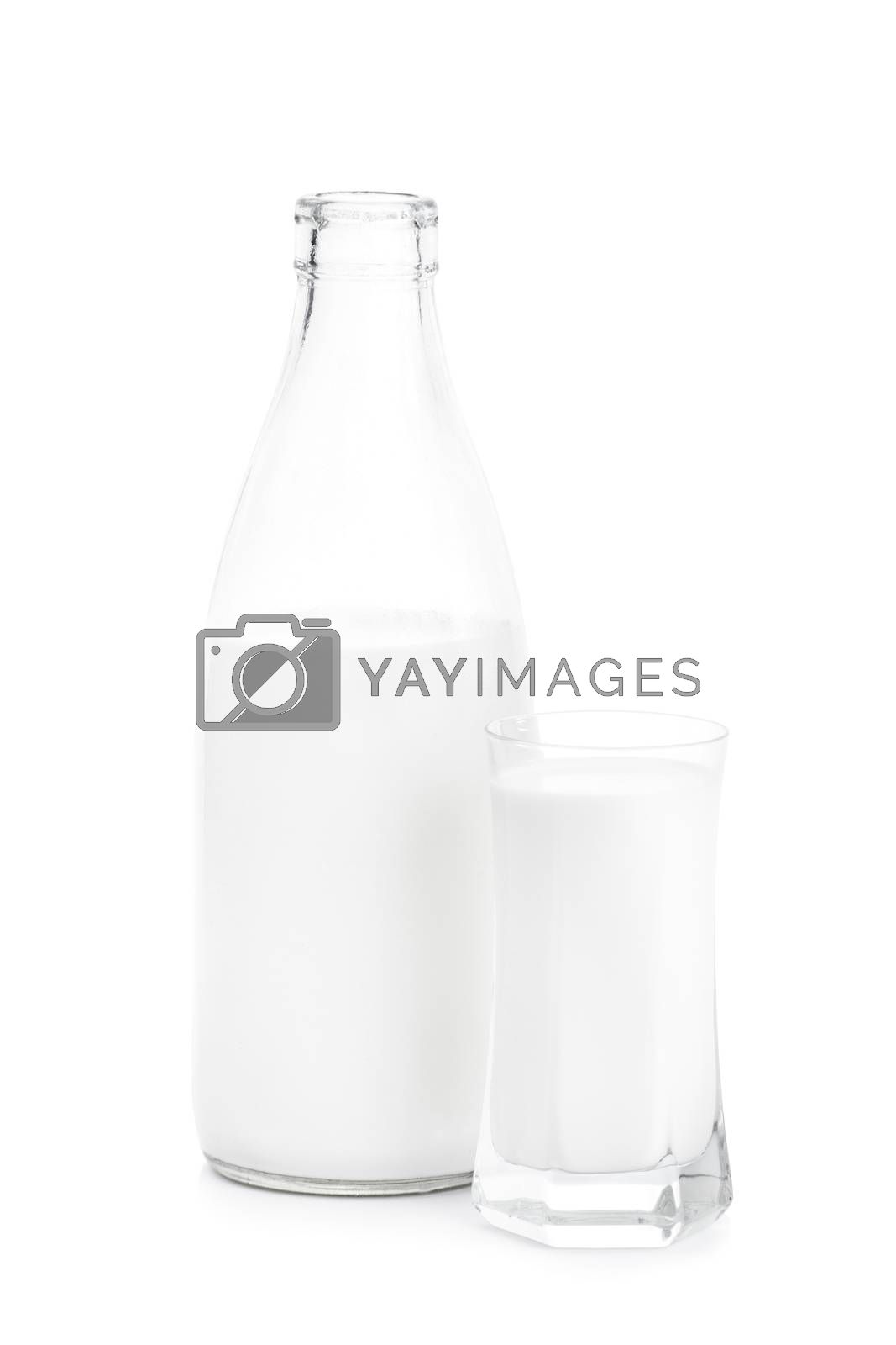 Bottle and a glass of milk, isolated on white background.