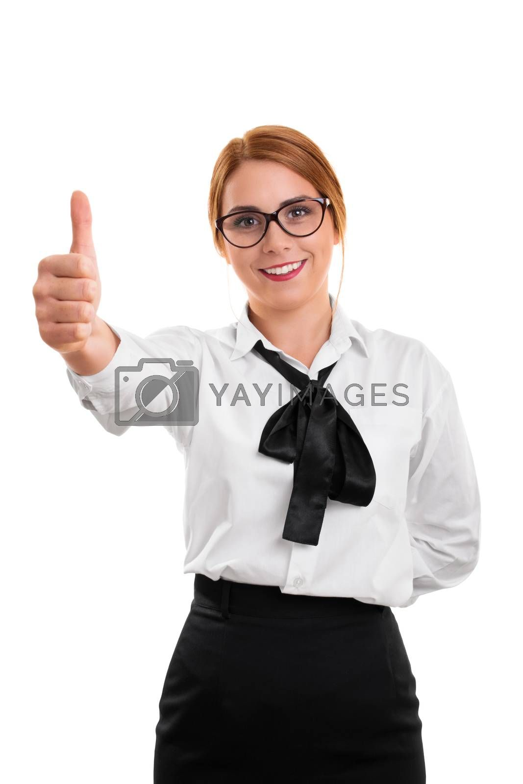 A portrait of a beautiful business woman giving her approval with thumbs up, isolated on white background.
