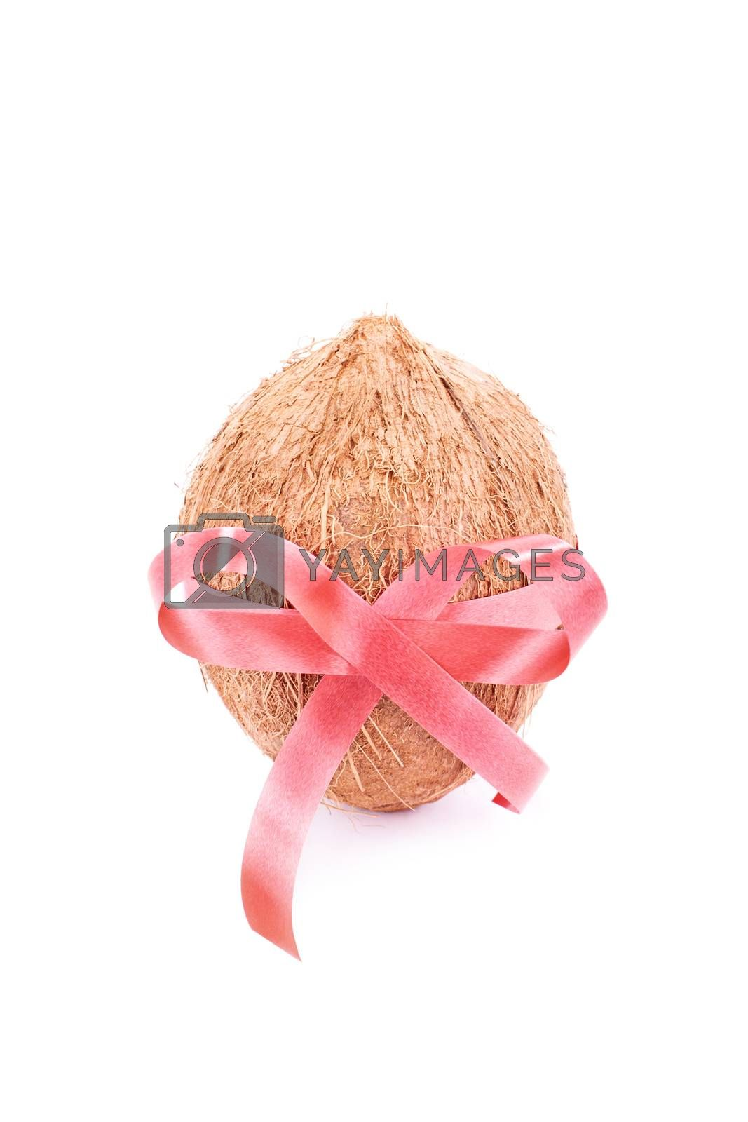 Coconut wrapped with red ribbon, isolated on white background.