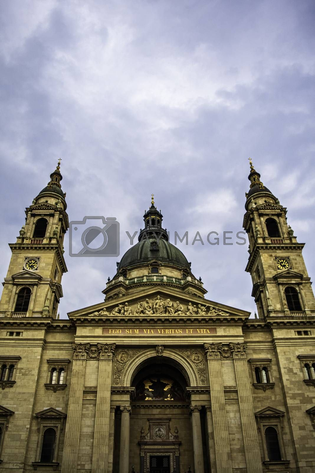 Close up central view of St. Stephen's Basilica in Budapest on a beautiful day.