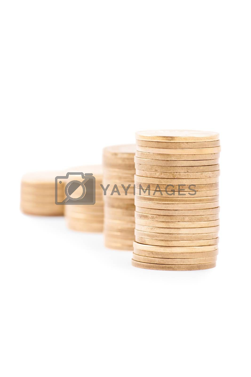 Coin up the ladder. Stack of coins making a ladder, isolated on white background.