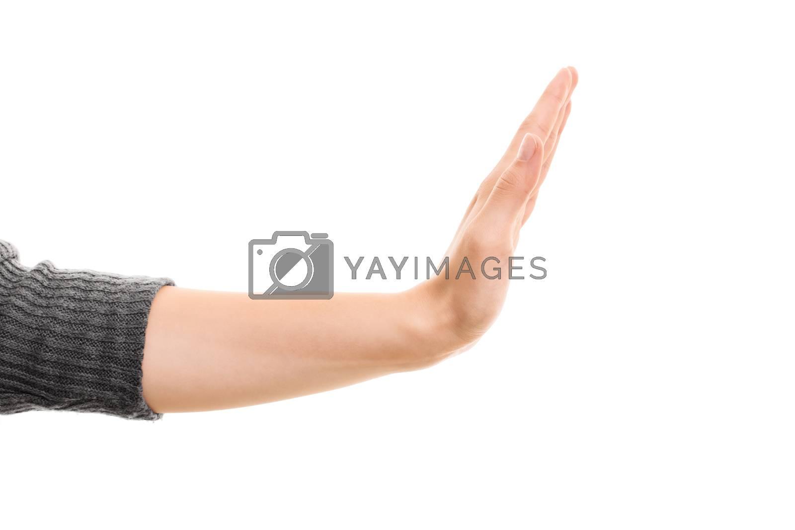 Female hand gesturing stop. by Mendelex