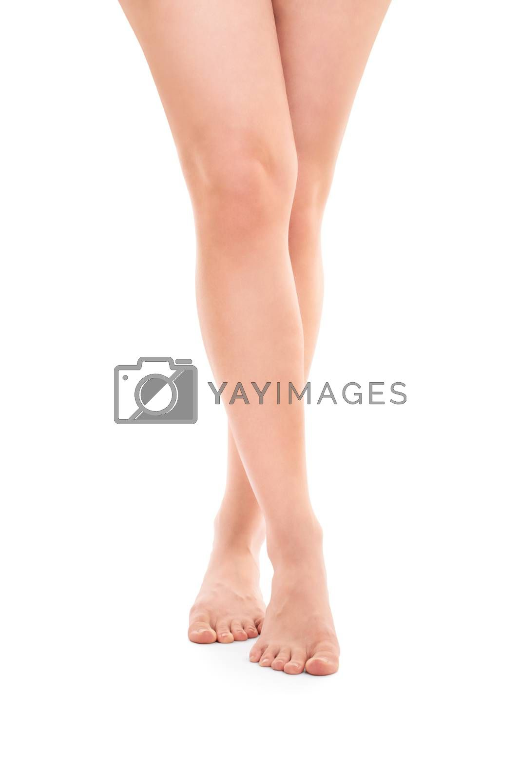 Fit beautiful female legs, isolated on white background.
