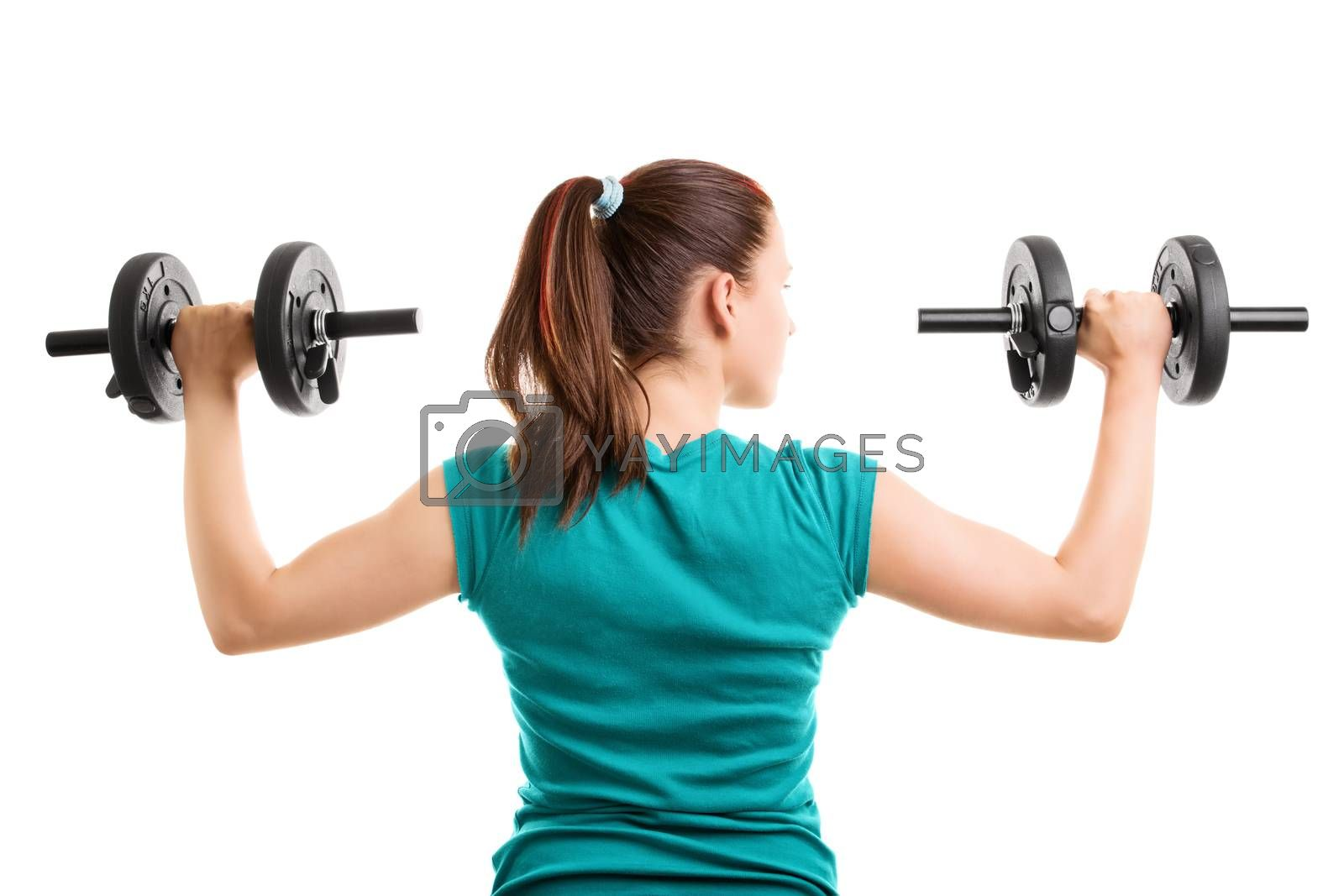 Fit young girl holding dumbbells by Mendelex