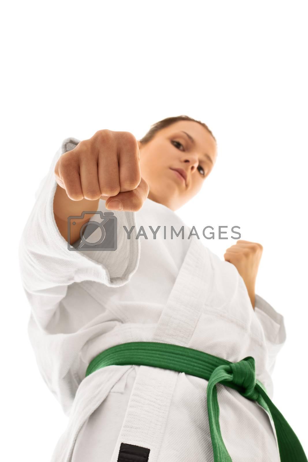 Girl wearing kimono in combat stance by Mendelex