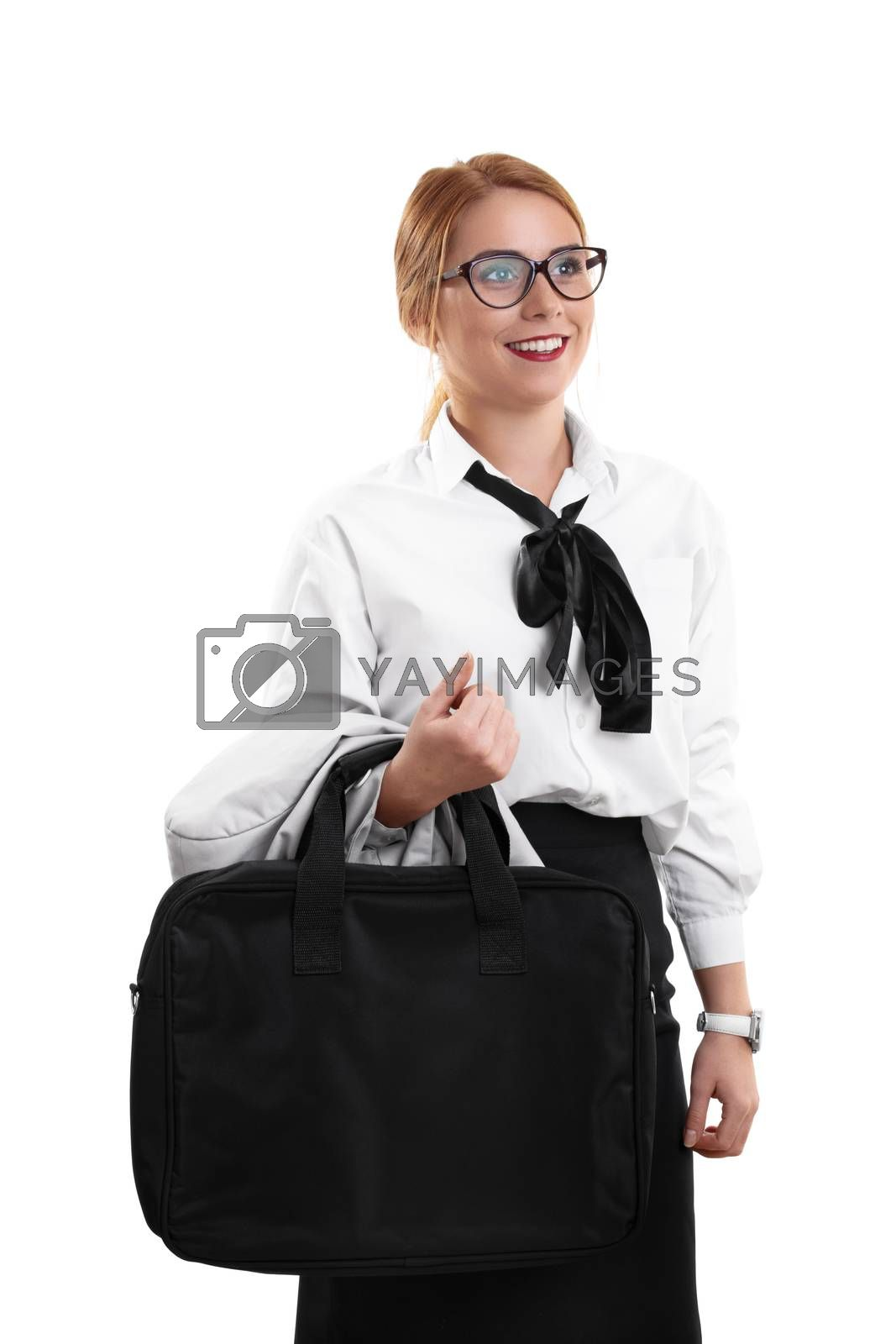 Modern business woman on her way to a meeting by Mendelex