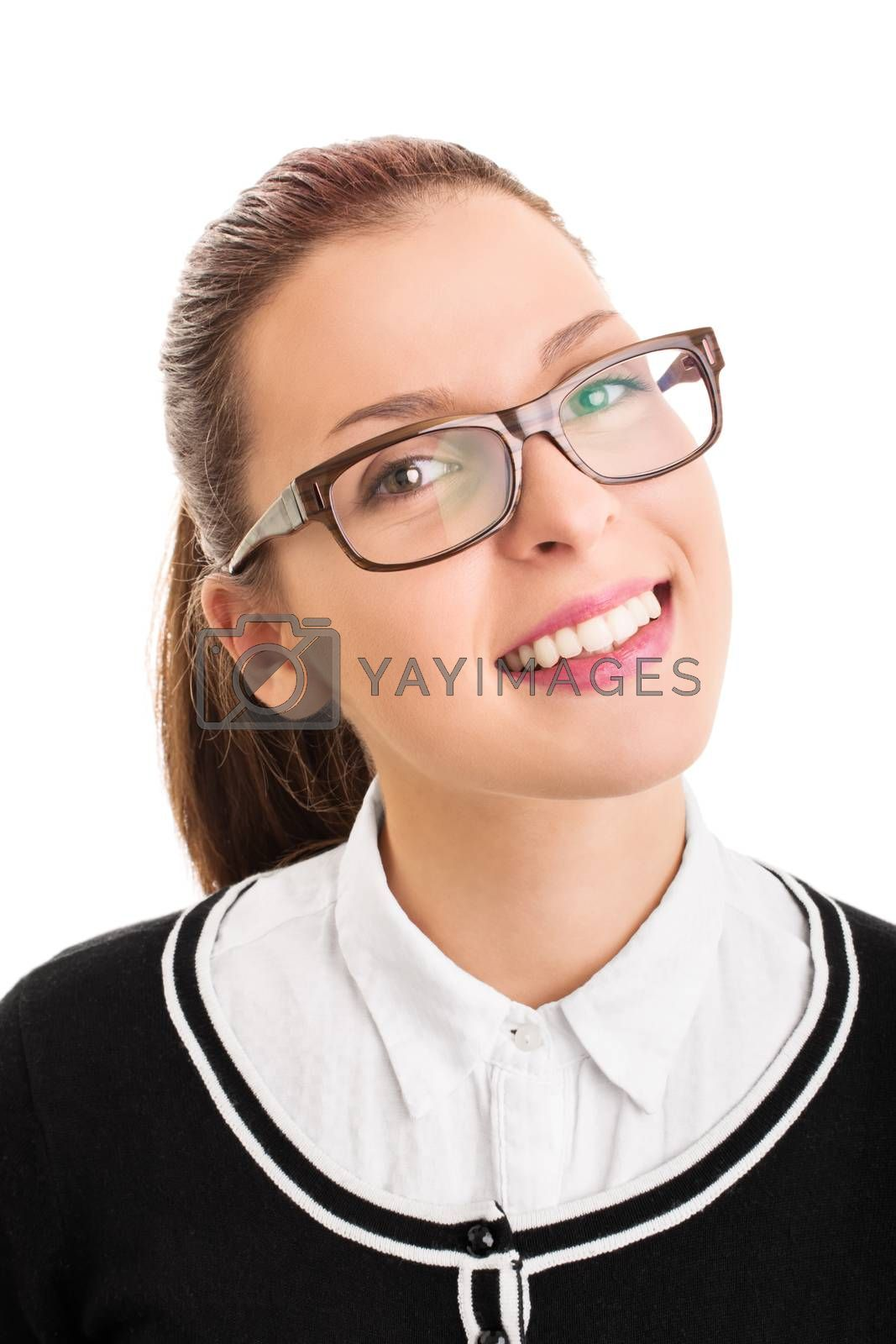 Portrait of a smiling confident young student girl wearing glasses, isolated on white background.