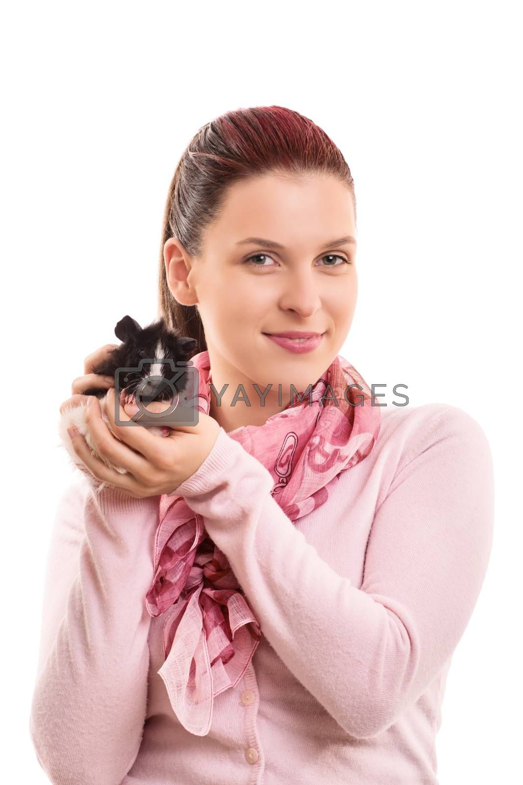 A portrait of a young beautiful girl with her guinea pig, isolated on white background.