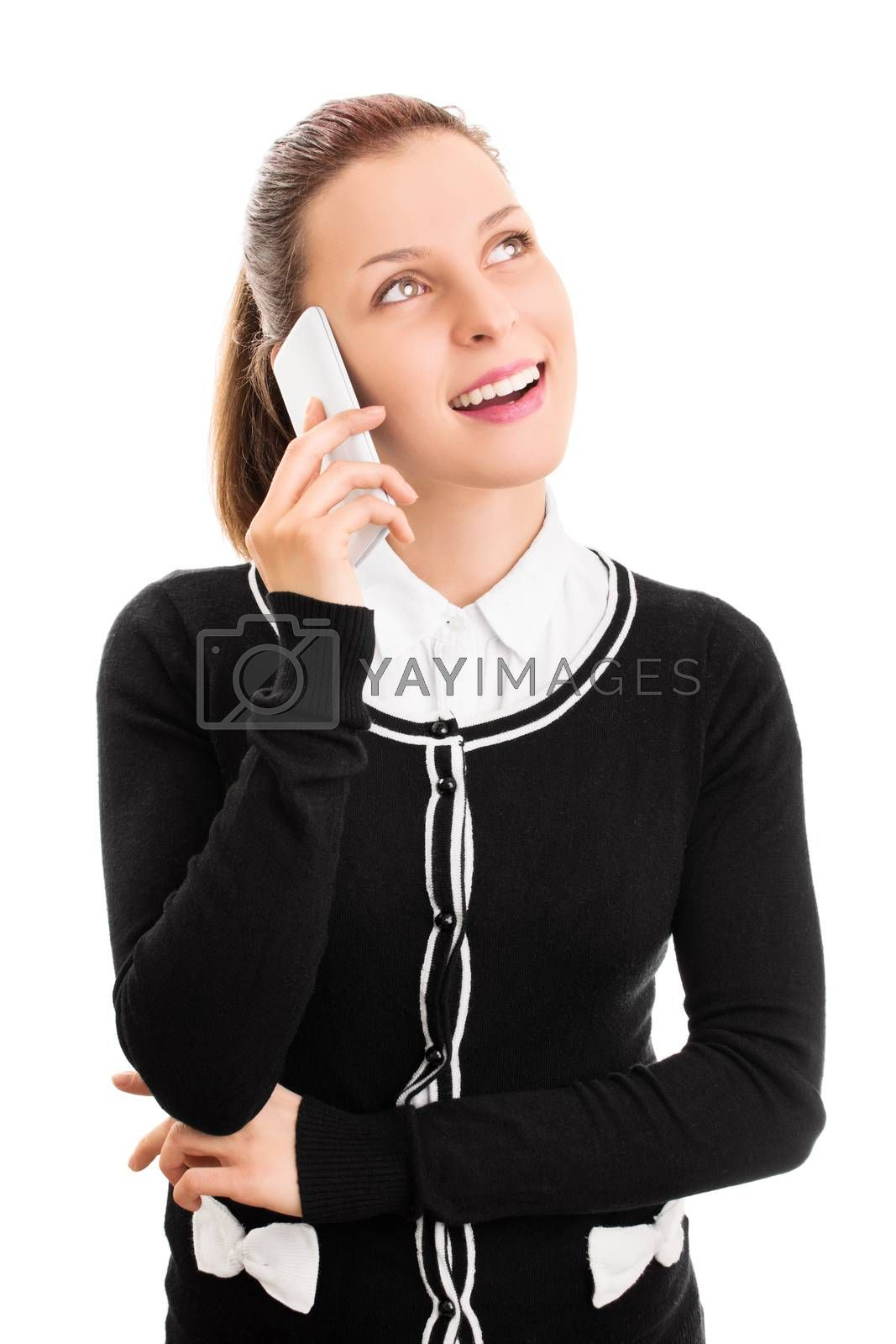 So nice to hear from you. How are you. Smiling beautiful young student girl talking on a phone, isolated on white background.