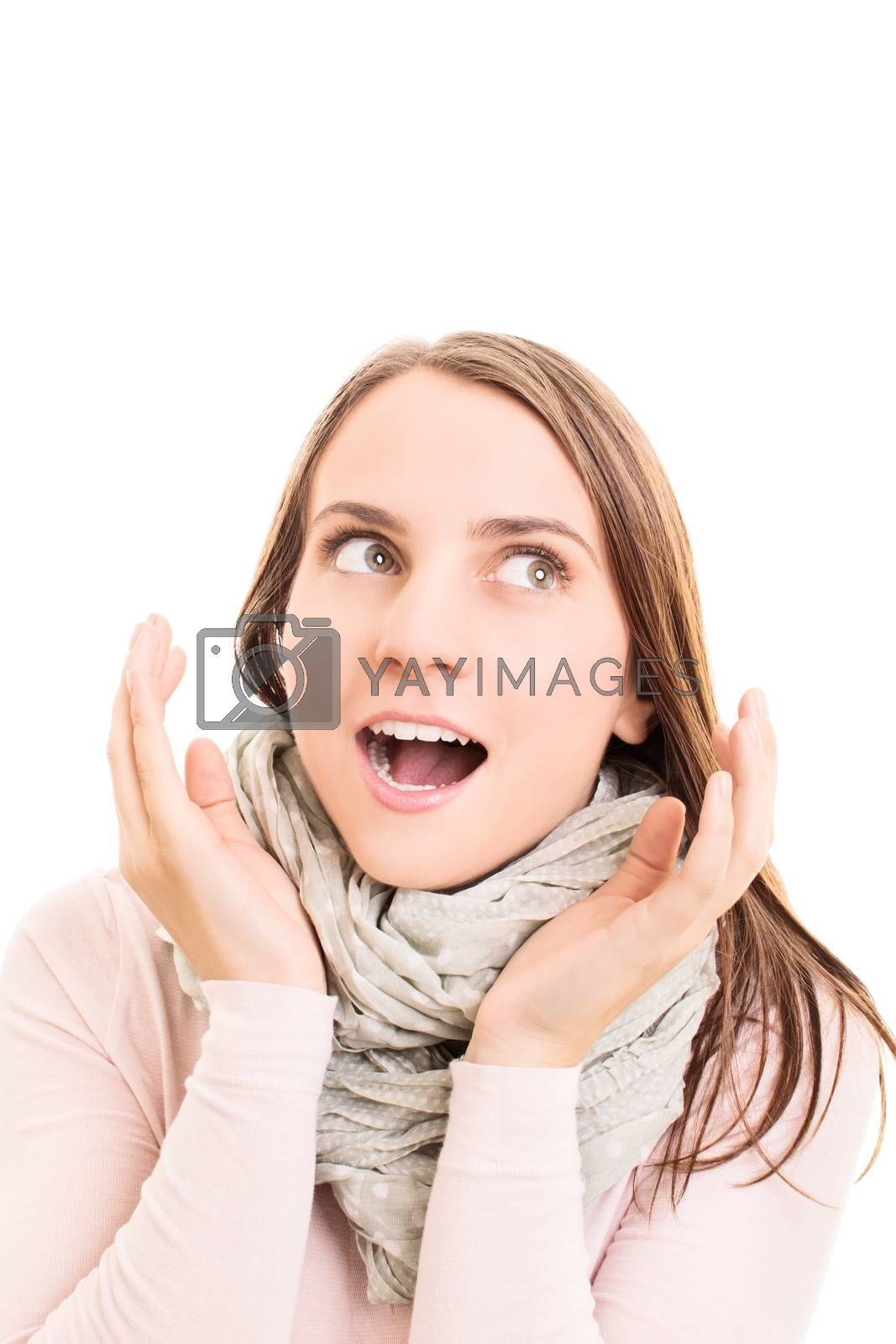 Young girl acting surprised, isolated on white background.