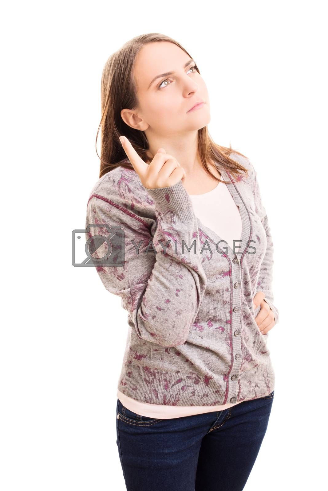 Beautiful young girl holding her point finger up thinking about something, isolated on white background.