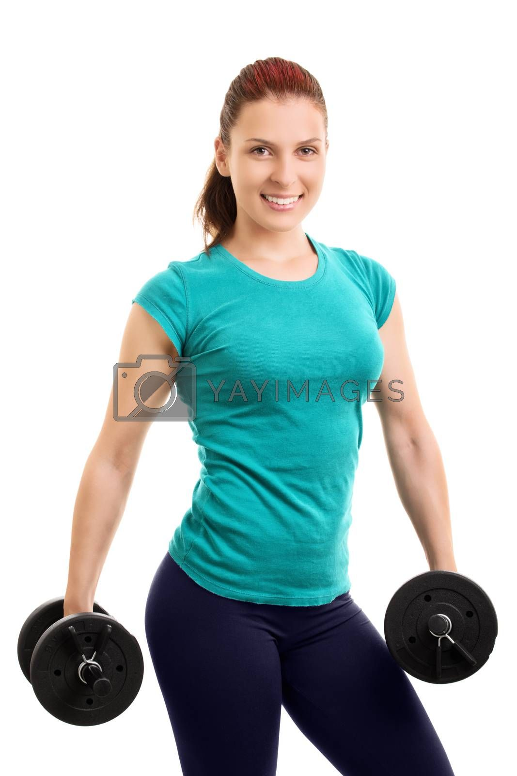 The looks. Beautiful young athlete holding two dumbbells, isolated on white background.