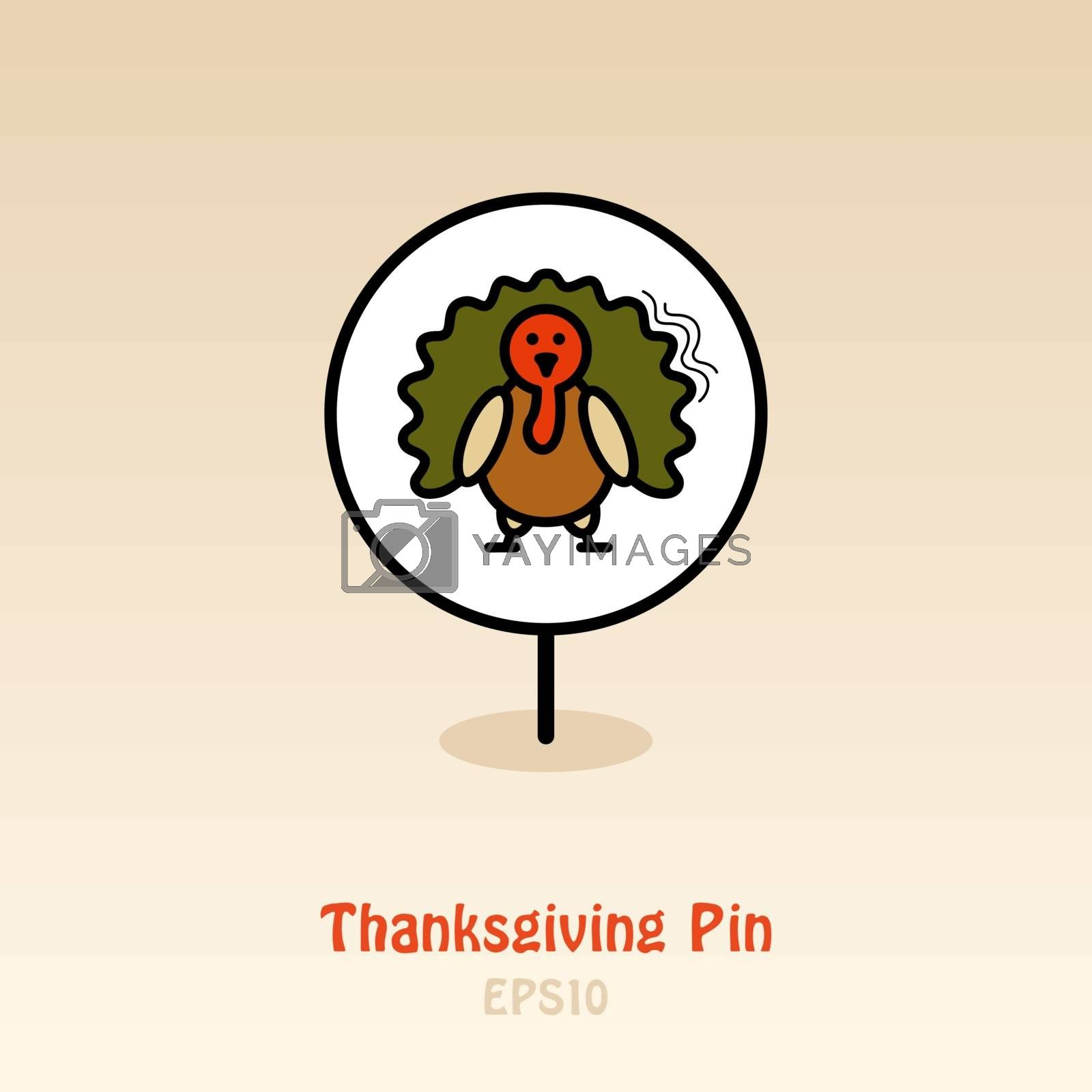Turkey pin map icon. Harvest map pointer. Thanksgiving map markers. Vector illustration for apps and websites