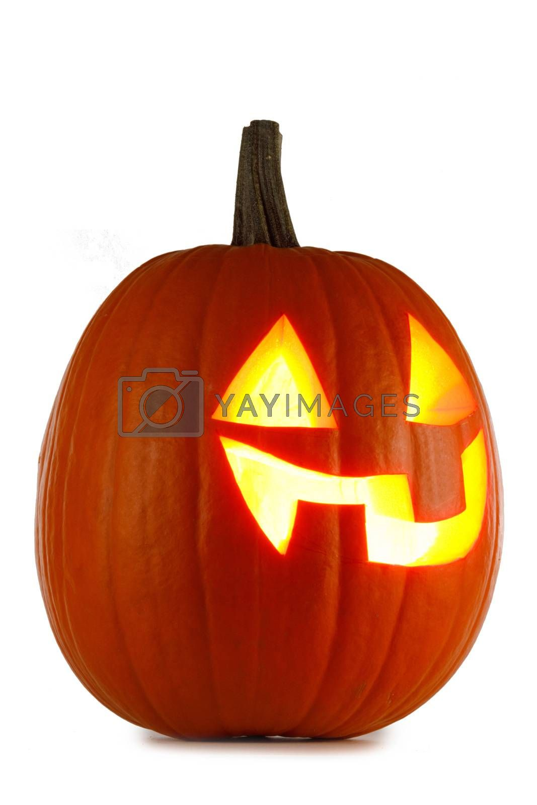 Glowing Halloween Pumpkin isolated on white background