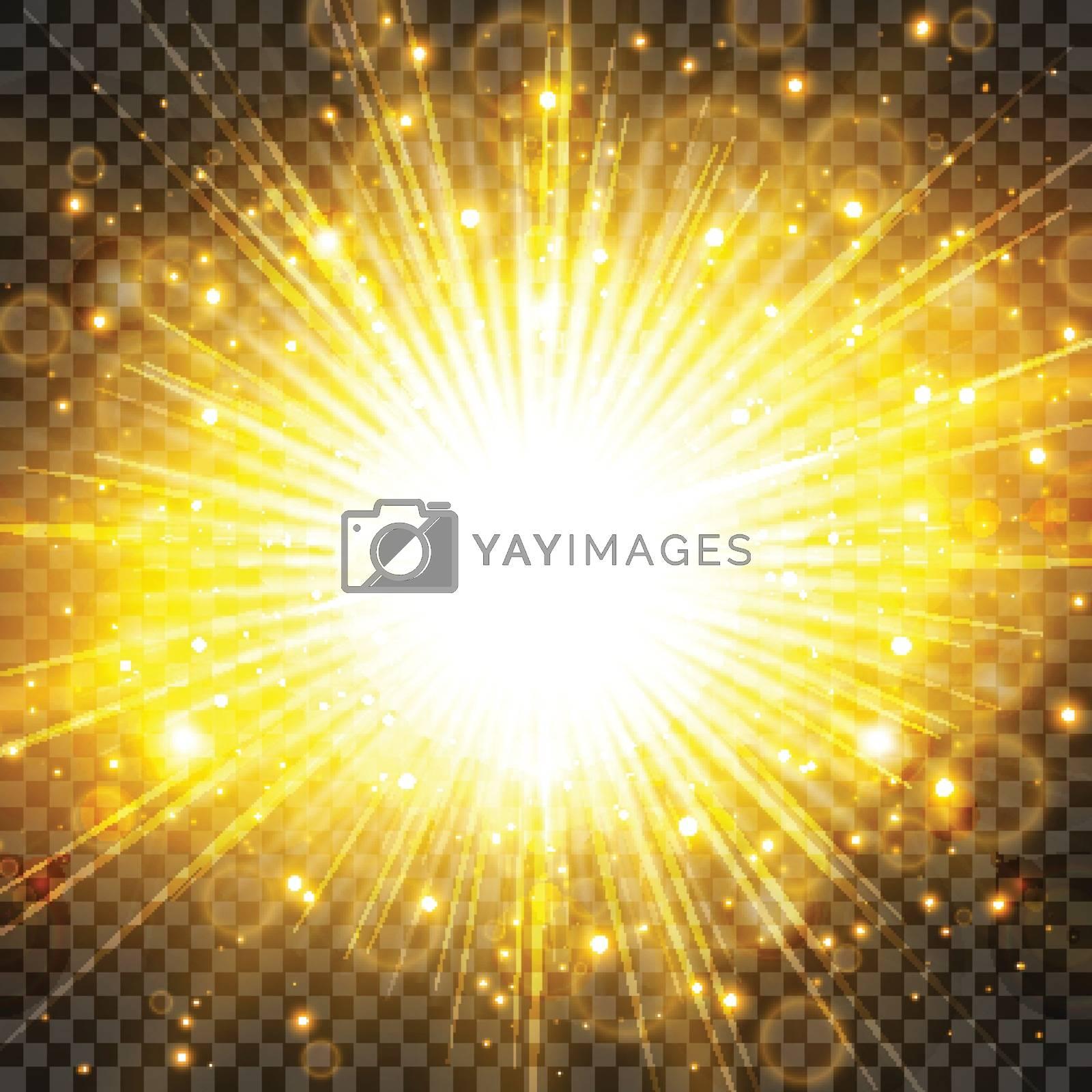 Sun light and sunburst with glittering on transparency background. Lighting effect radiation. Vector illustration