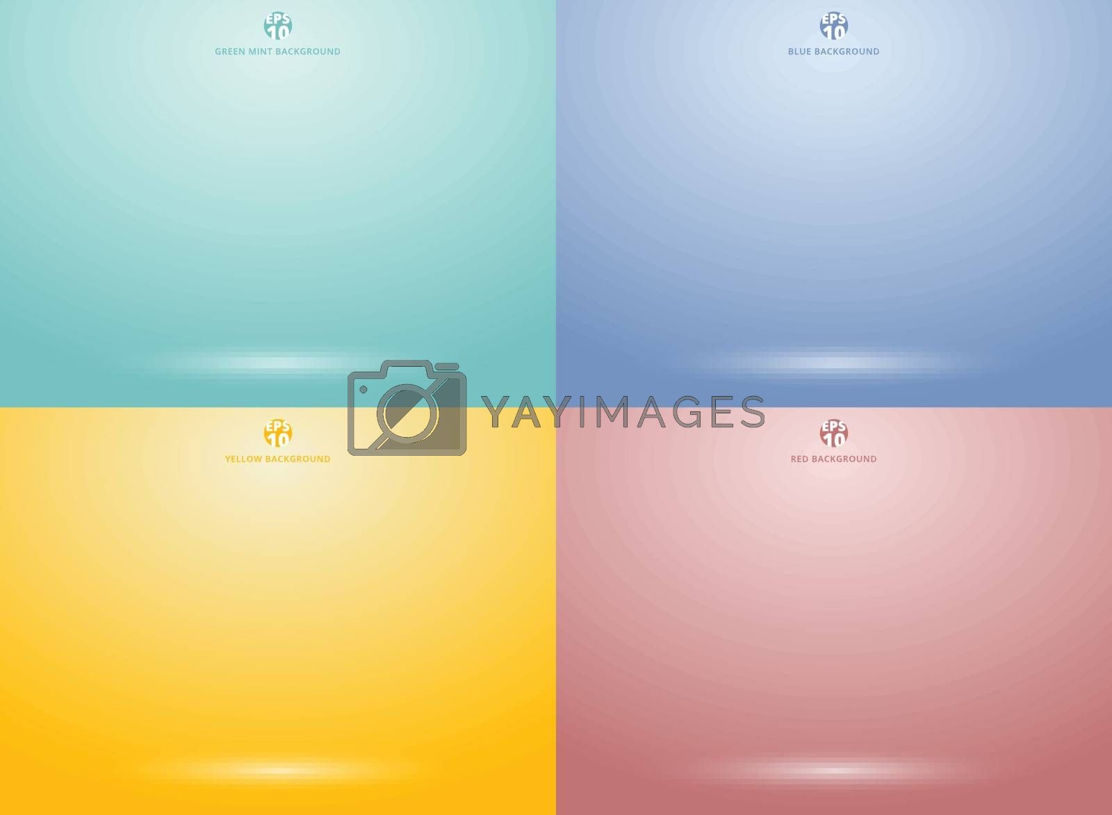 Set of studio room green mint, red, yellow, blue background with lighting well use as Business backdrop, Template mock up for display of product, Vector illustration