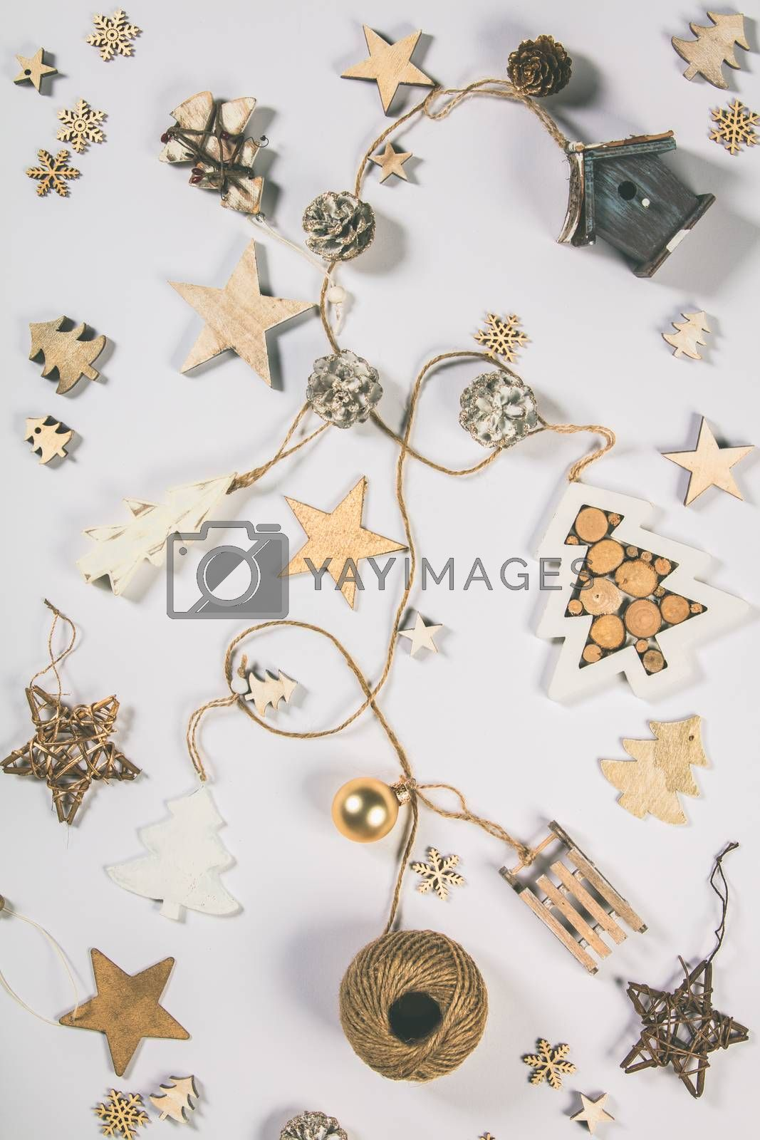Background with Christmas concept. Christmas postcard. Creative Flat layout and top view composition