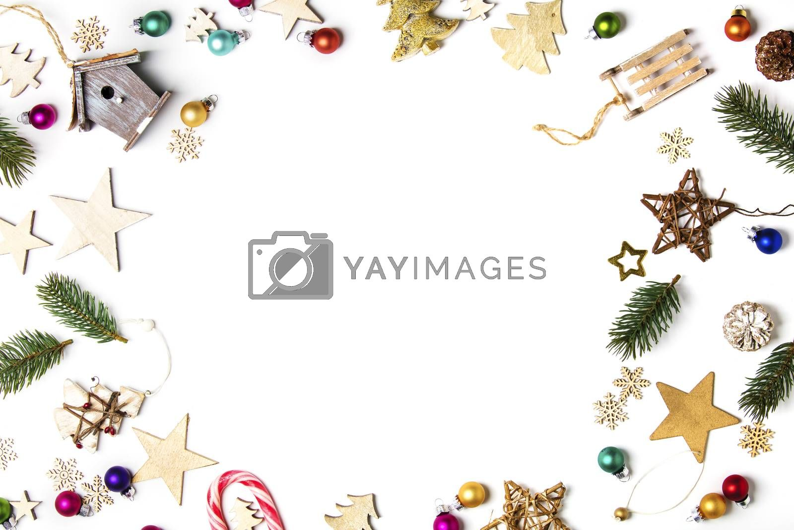 Christmas background. Christmas still life.Background with Christmas concept. Christmas postcard. Flat layout and top view composition with border and copy space design.composition