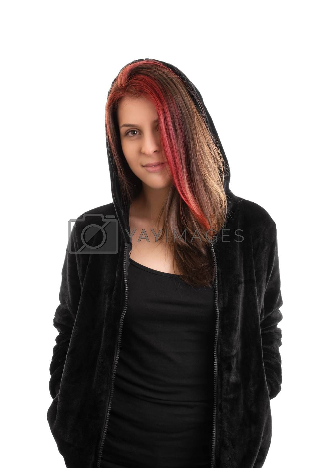 Portrait of a beautiful young girl in a hooded sweatshirt, isolated on white background.