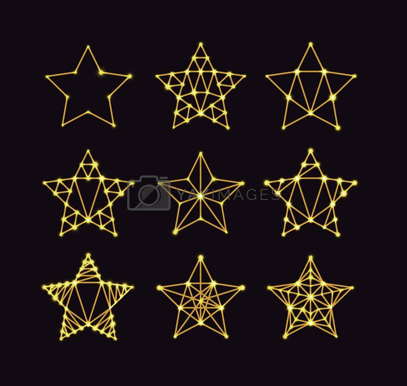 Golden geometric stars in the art deco style, varying degrees of detail. Modern design. Vector illustration on a dark background