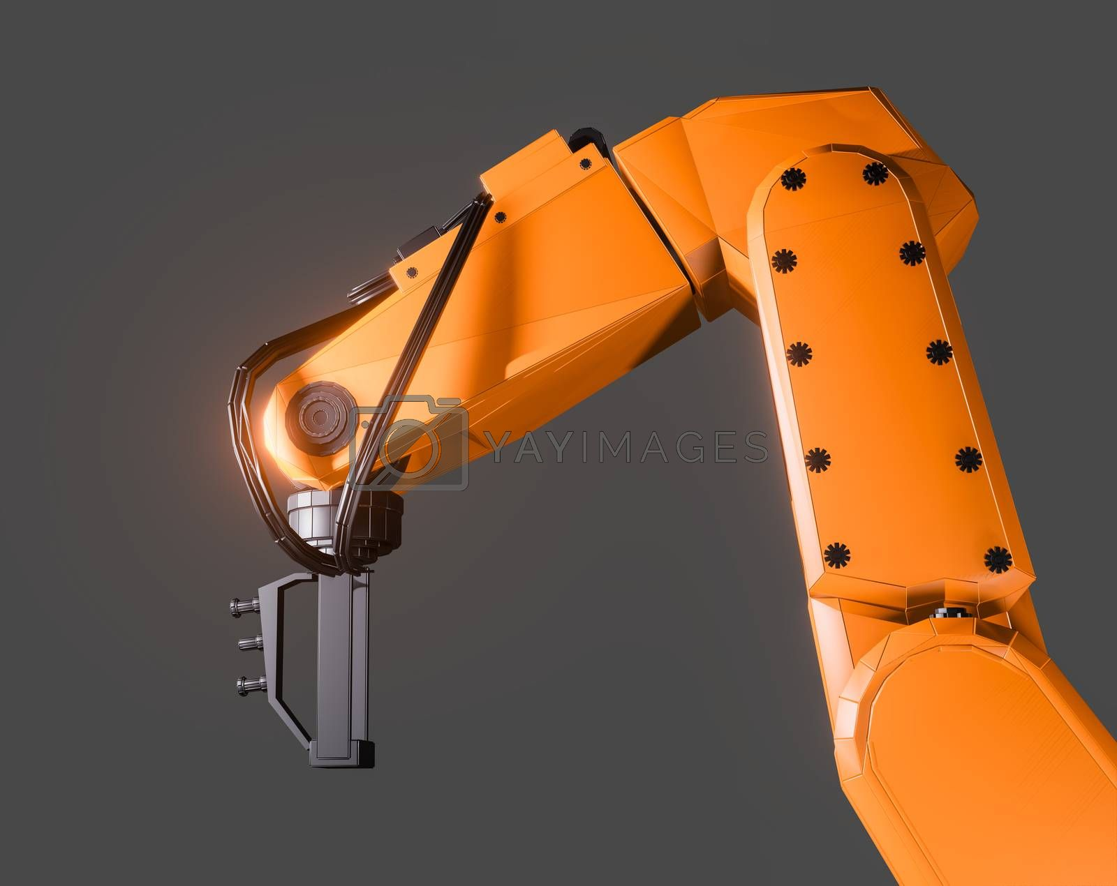 Industrial robotic arm isolated on grey background. 3D illustration