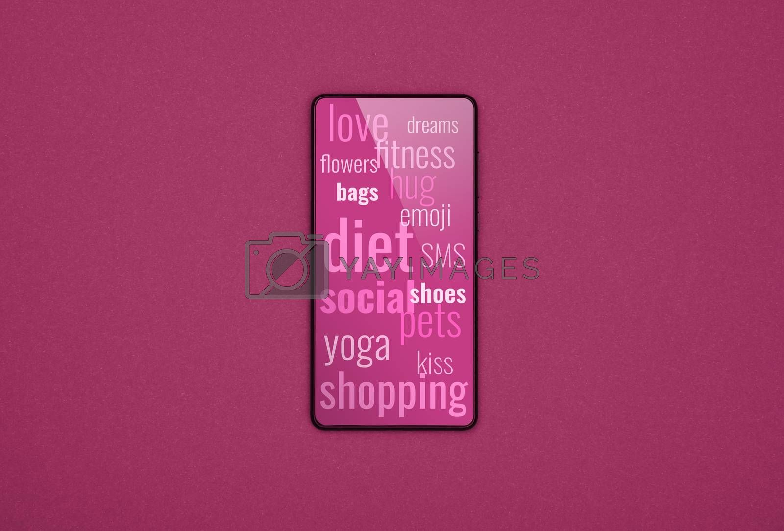 Close up one smartphone with messages of values, interests, hobbies, search and lifestyle of women on screen over pink purple background