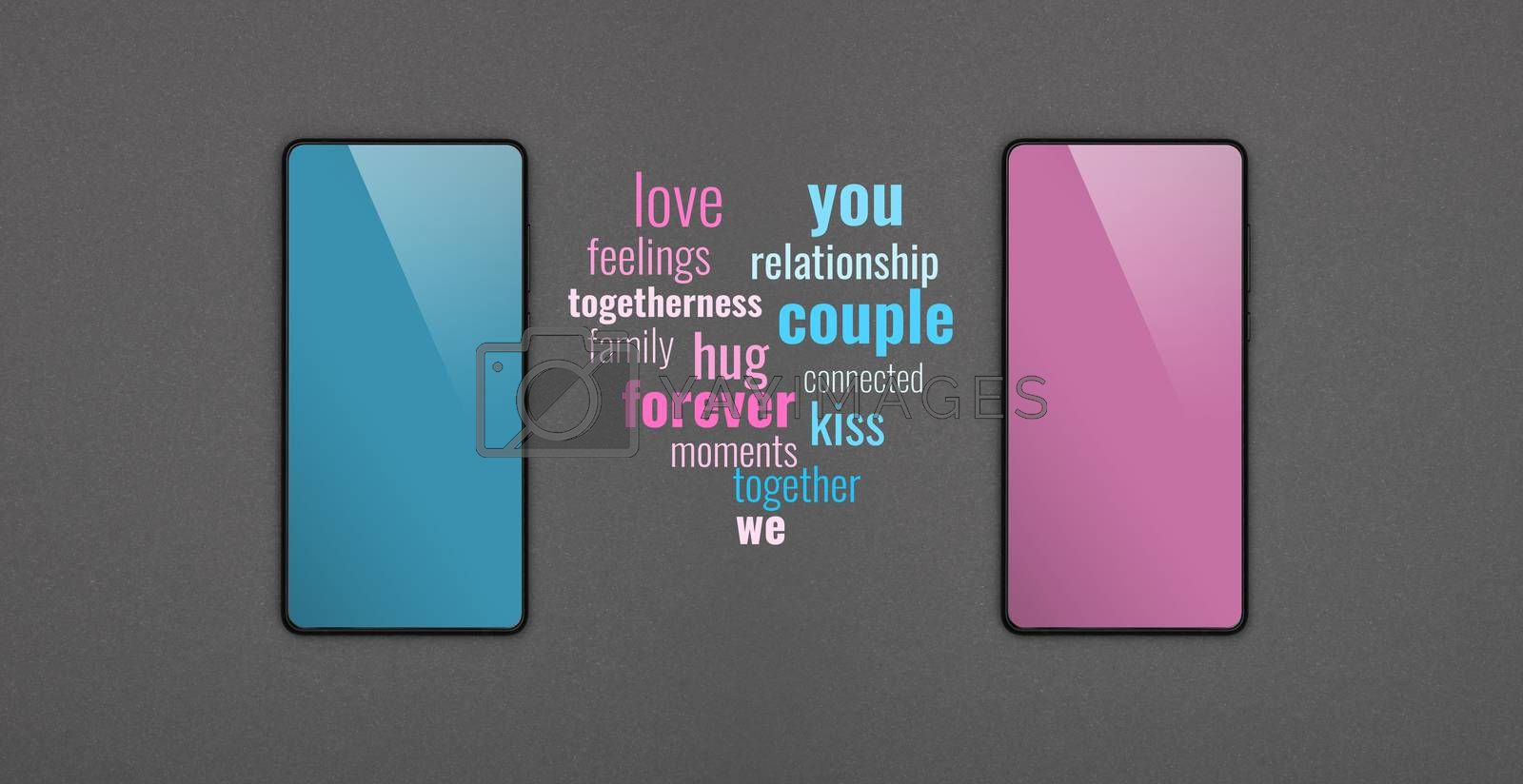 Close up two smartphones with blank screens, blue and pink, and communication messages over grey paper background, flat lay, directly above