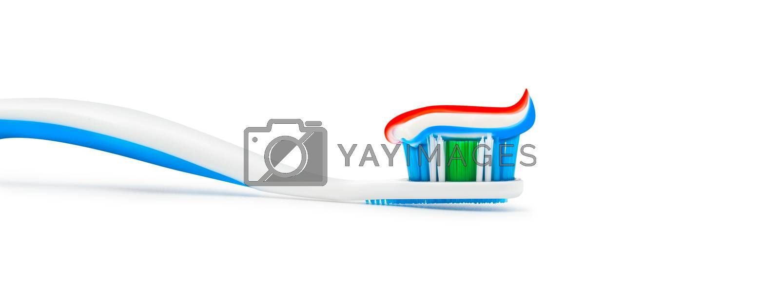 Toothpaste toothbrush isolated on white background. With clipping path