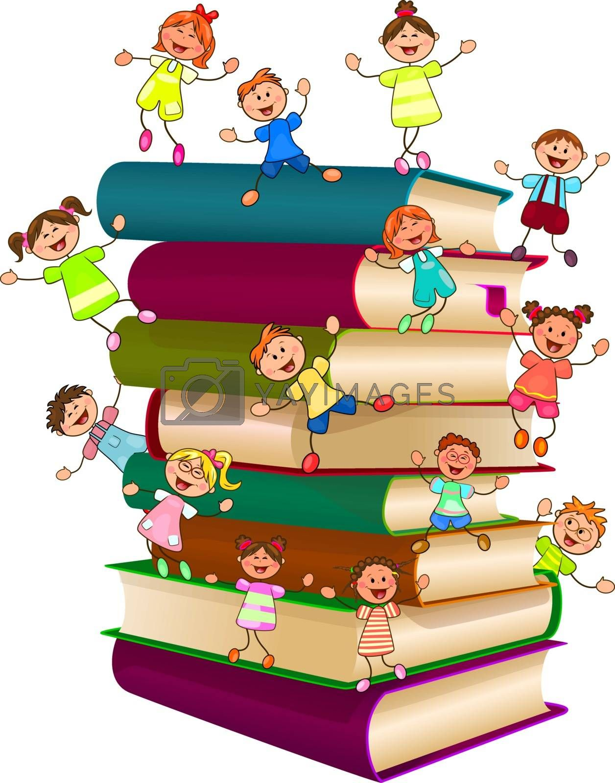 Happy children on top of a stack of books by liolle
