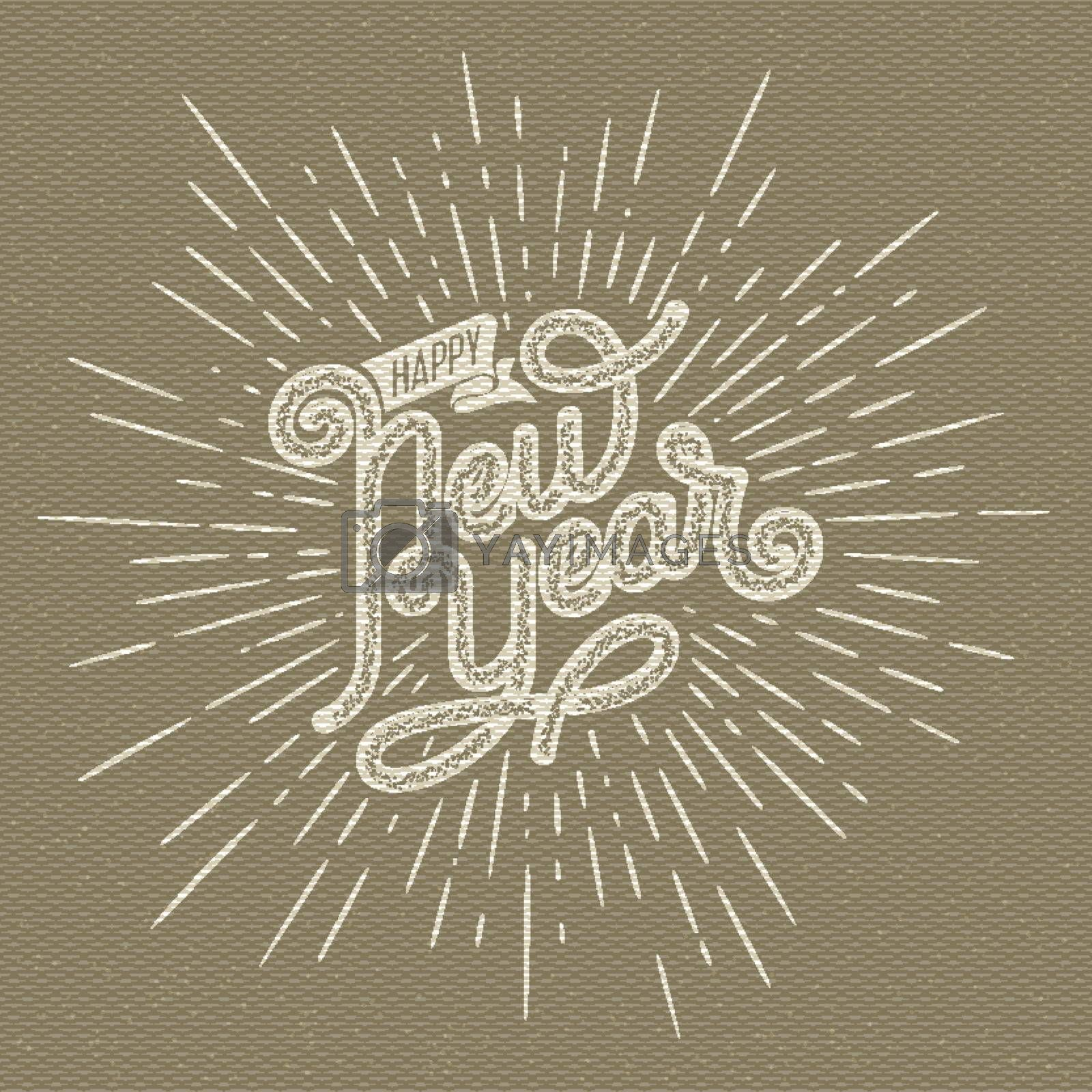 Happy New Year Lettering with burst rays. Holiday Vector Illustration. Lettering Composition And Light Sunburst