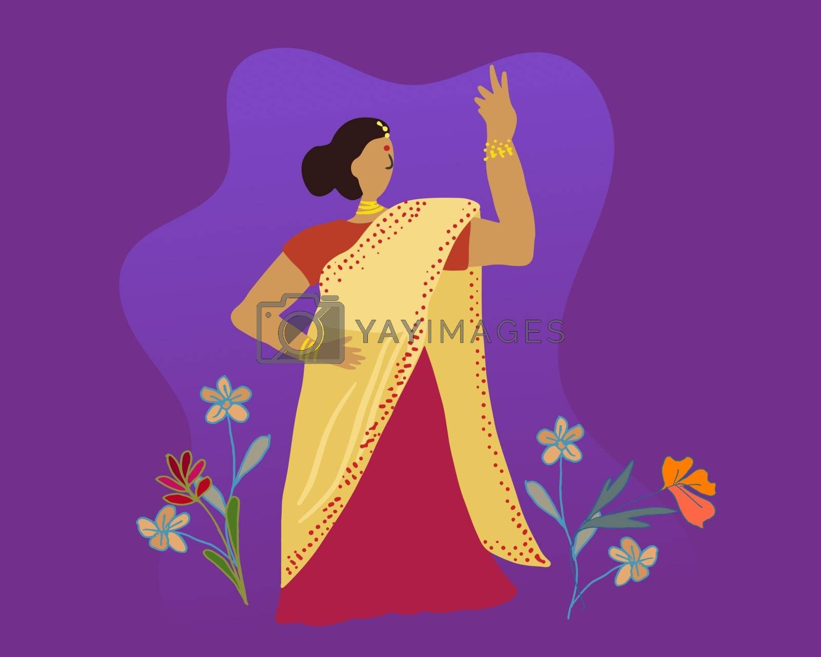 Indian woman with flower decoration for Diwali festival celebration in India. Vector flat illustration.