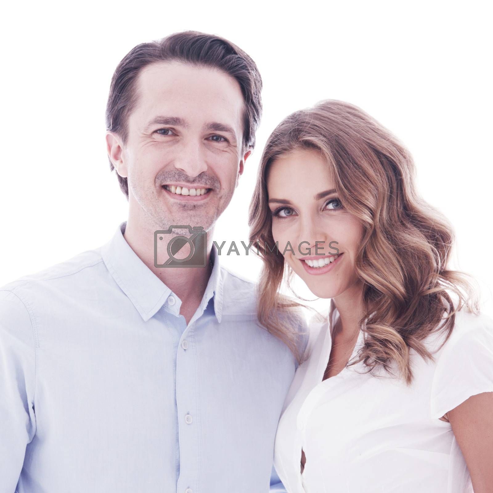 Portrait of happy smiling couple isolated on white background