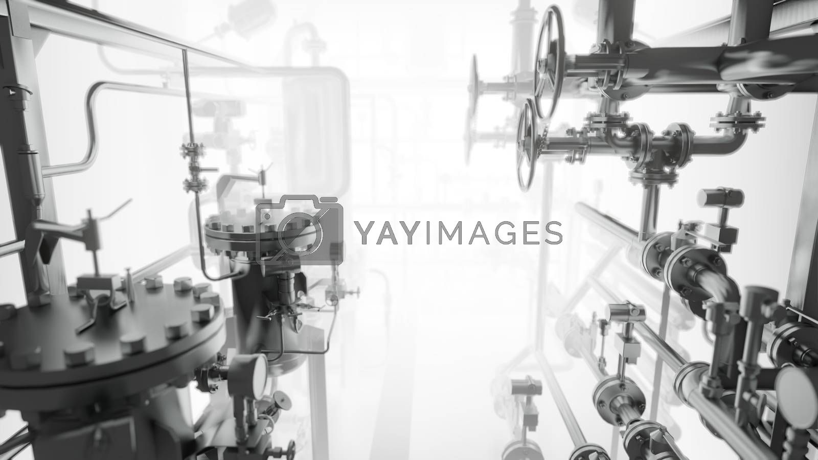 Abstract Industrial Equipment with smoke or fog. 3D illustration