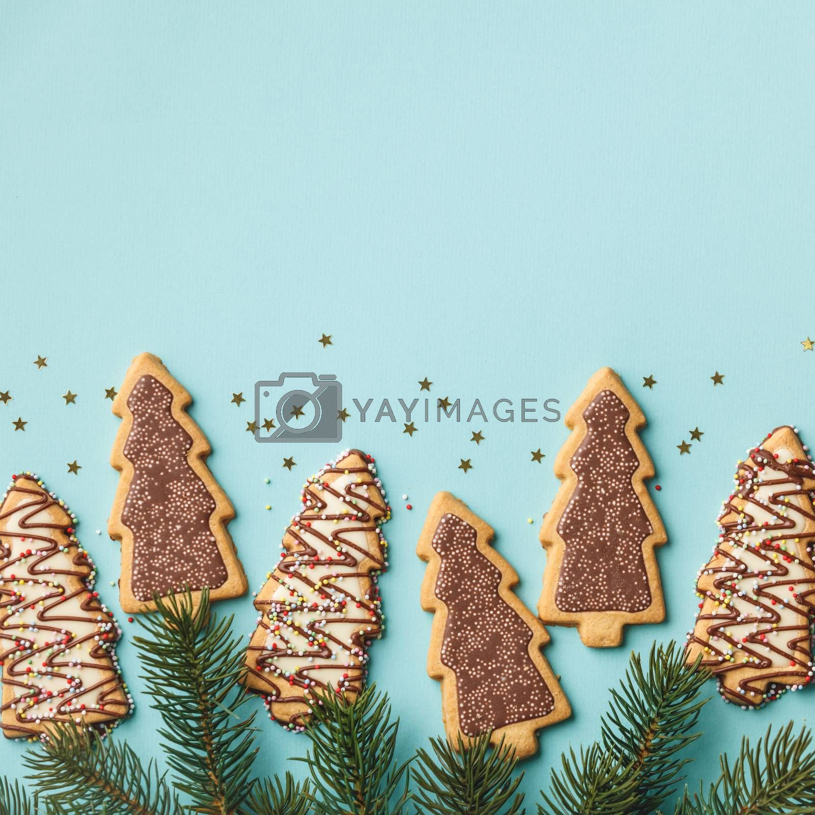 Christmas gingerbread cookies in the shape of a Christmas tree