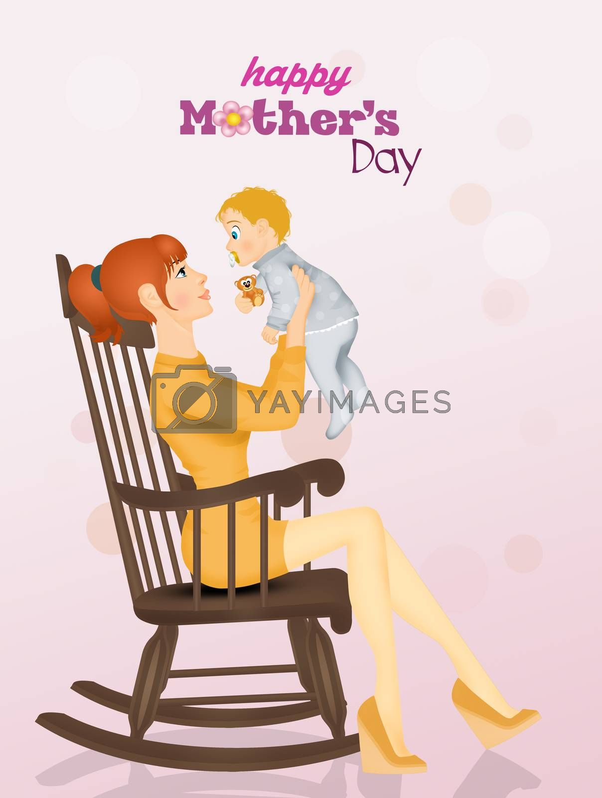 illustration of mothers day postcard