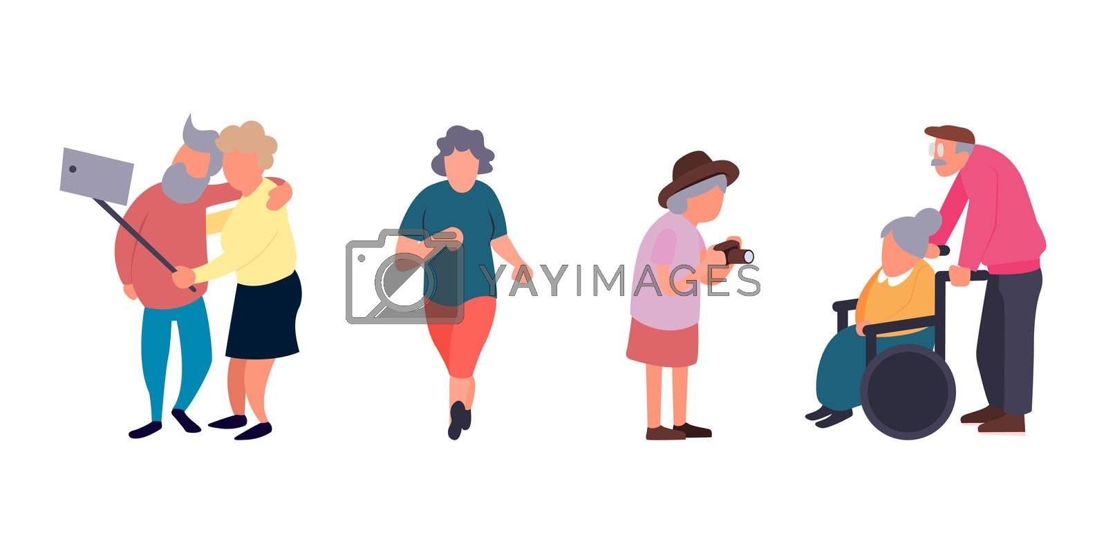 Recreation and leisure senior activities concept. Group of active old people. Elder people background. Cartoon elderly female character.