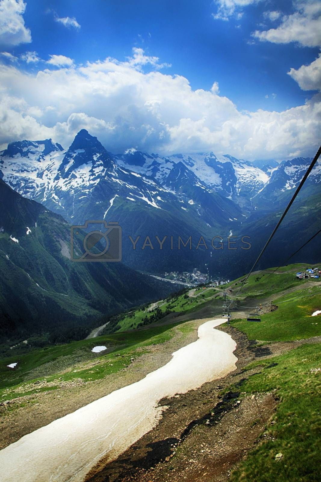 Royalty free image of Panorama of mountains scene with dramatic blue sky by friday